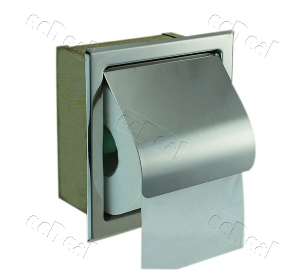 1 Pc Recessed Toilet Paper Tissue Towel Roll Paper Holder Silver Ebay