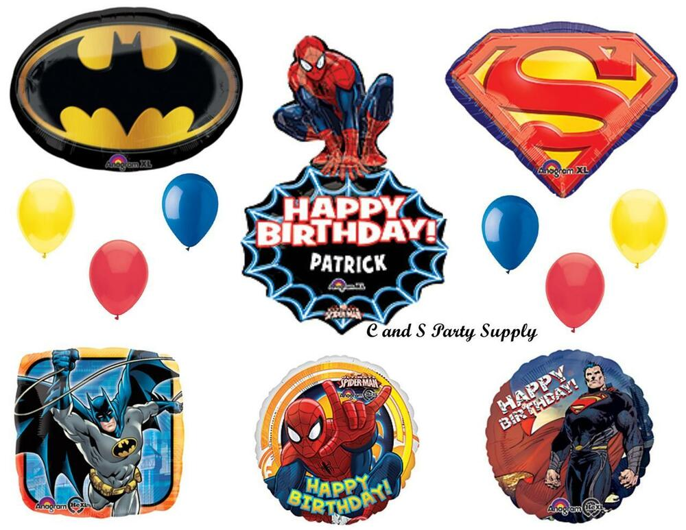 Superheroes batman spiderman superman birthday party for Balloon decoration equipment