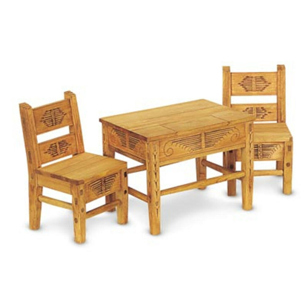 American girl josefina table chairs for dolls wood dinner furniture josefina 39 s ebay Dolls wooden furniture