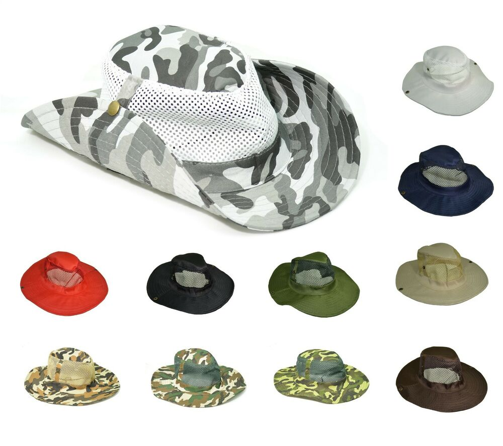 Mesh boonie bucket hat cap fishing military hunting safari for Mesh fishing hats