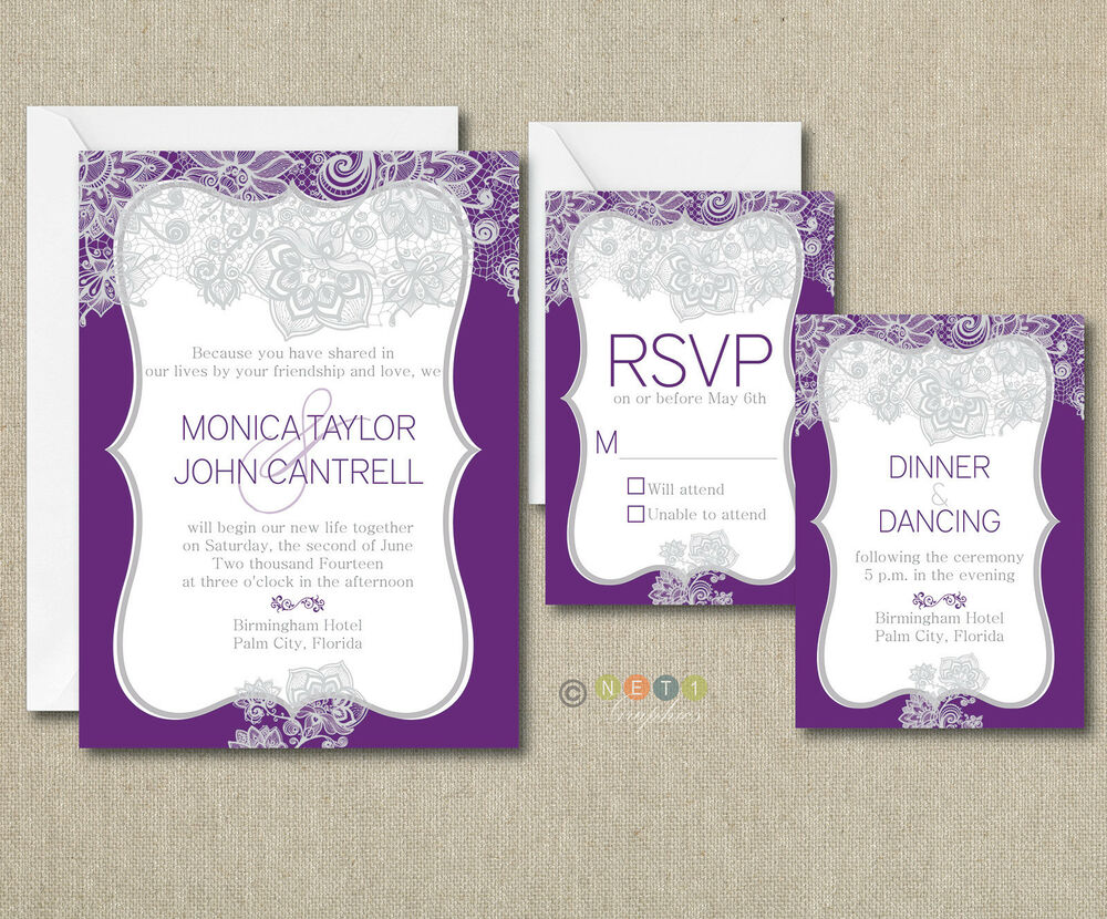 Elegant Monogram Wedding Invitations: 100 Personalized Elegant Lace Wedding Invitations Suite
