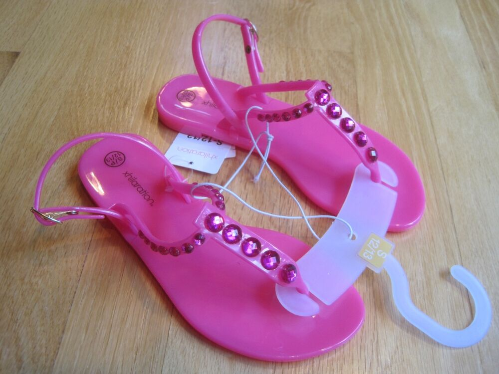 9f2db42807fd5b Details about Girl BLING RHINESTONE BEADS HOT NEON PINK GEL Jellies Sandals  NWT 12 13