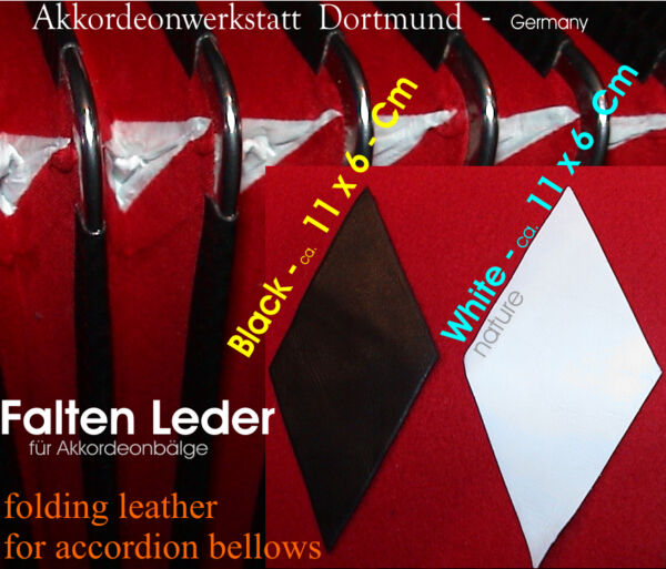 Balg- Leder- Ecken, Faltenleder, Akkordeon / accordion bellows leather corners