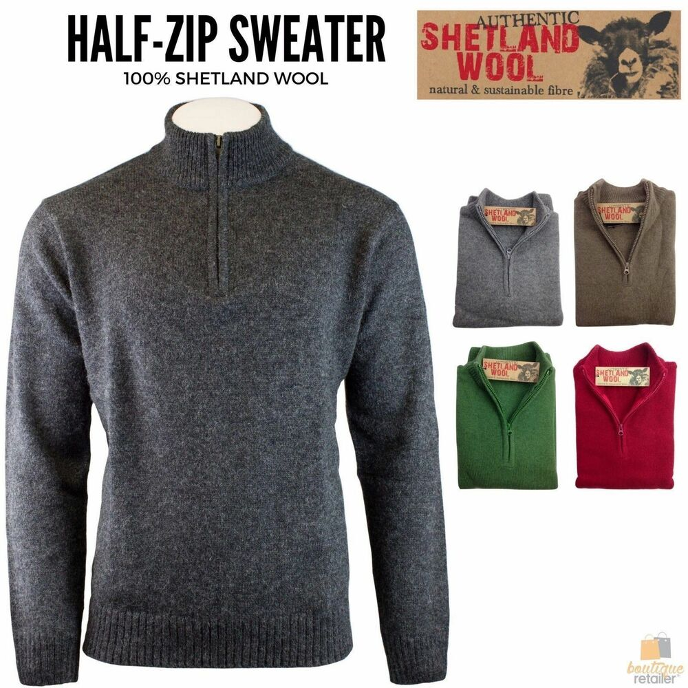 100% SHETLAND WOOL Half Zip Up Knit JUMPER Pullover Mens ...
