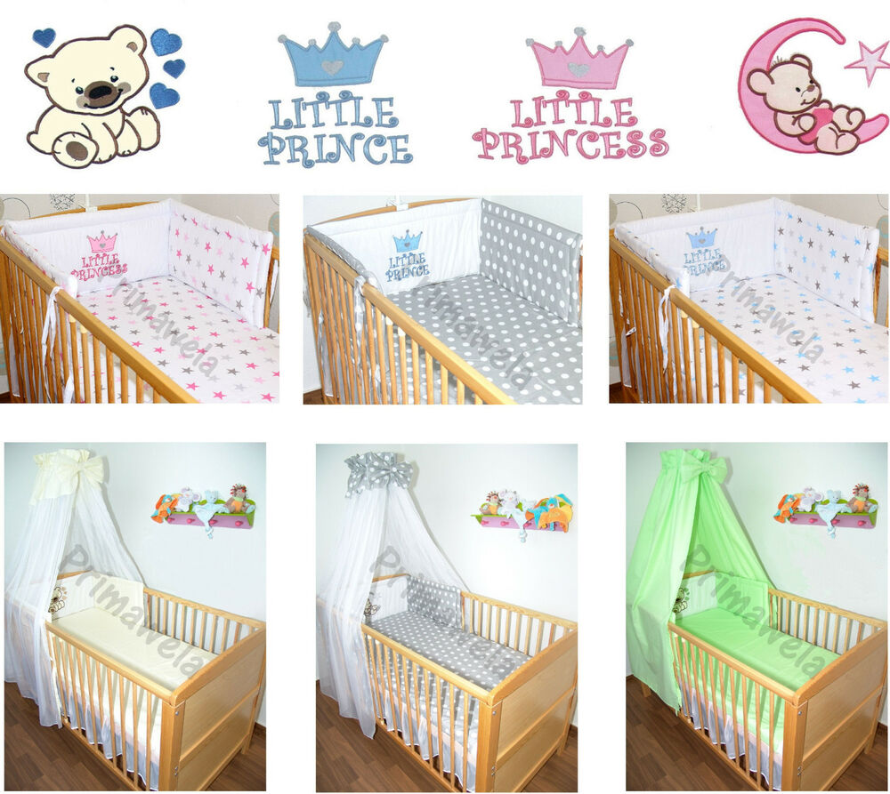 mit applikation baby bettset f r bett 70x140 himmel bettw sche nestchen ebay. Black Bedroom Furniture Sets. Home Design Ideas