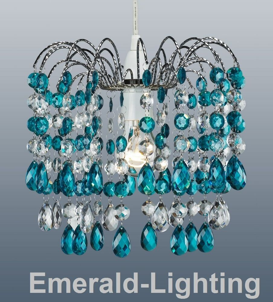 Barcelona teal crystal waterfall cascade chandelier for Waterfall lamp shade