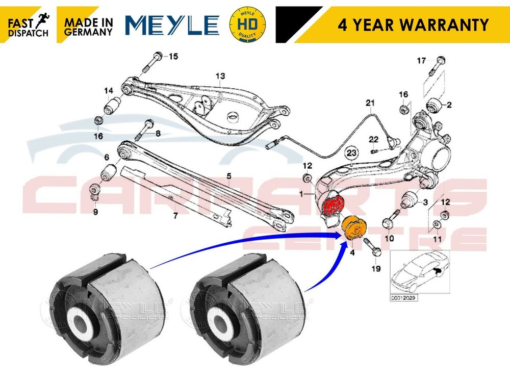 For Bmw 3 E36 E46 Rear Trailing Suspension Arm Front Bush Bushes Heavy Duty 4040074404607 Ebay