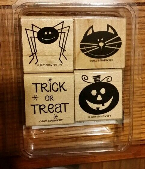 Stampin Up Trick Or Treat Set 4 Rubber Stamps Lot