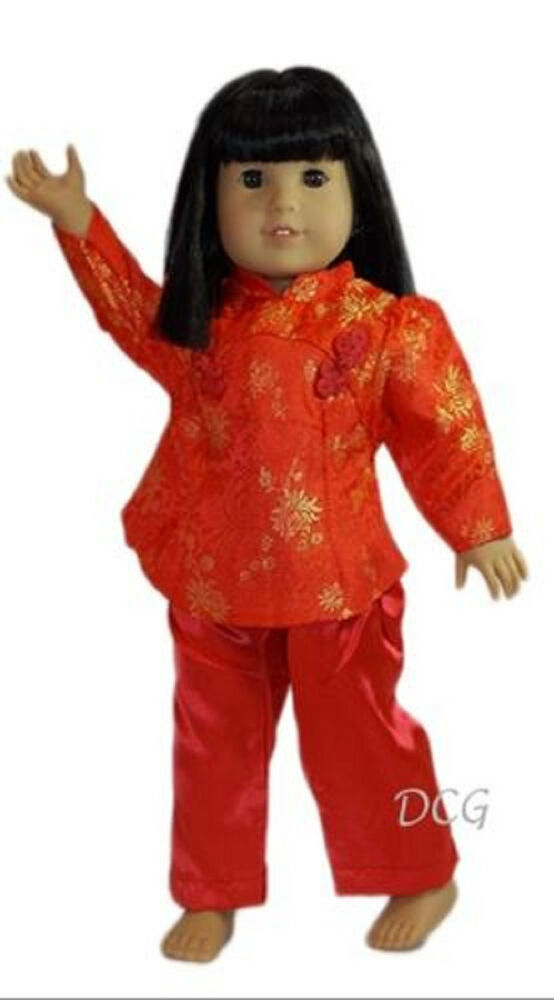 rosa chinese pant outfit   red for american girl 18 dolls