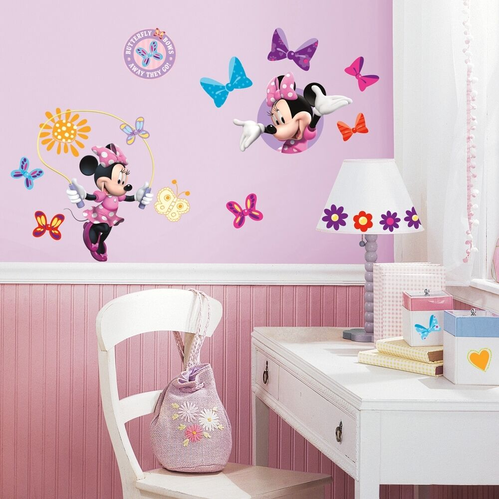 33 new minnie mouse bow tique wall decals disney stickers for Girls murals