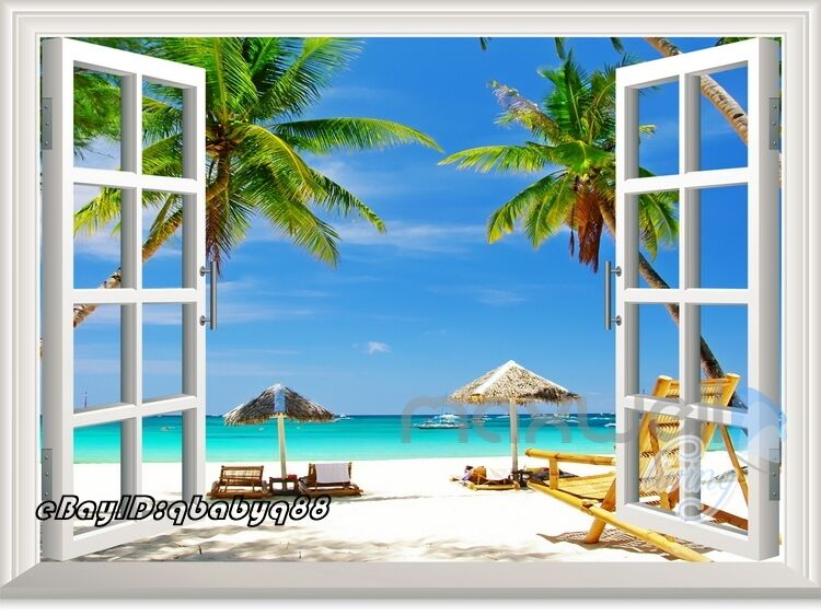 Palm tree beach 3d window view scene removable sticker for Beach wall mural sticker