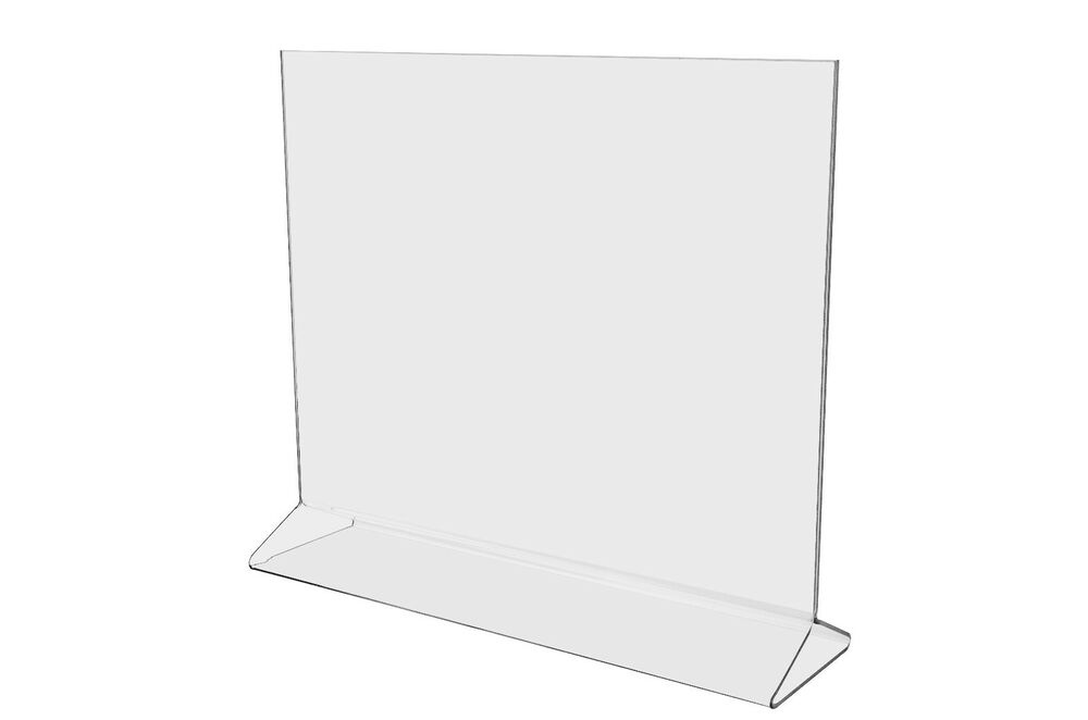 Lot of 50 clear acrylic 11 x 8 1 2 upright sign holders for 1 x 2 table