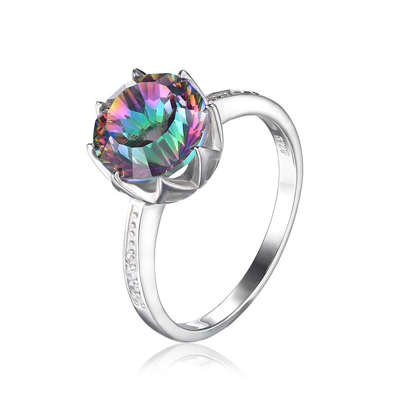 Rainbow Wedding Rings: 4.3ct Genuine Fire Rainbow Topaz Engagement Wedding Ring