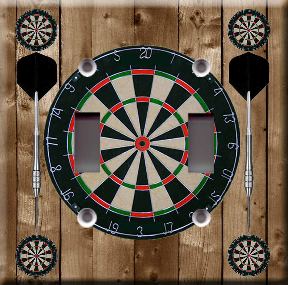 Light Switch Plate Cover Dart Game Sports Bar Brown