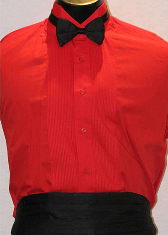 Vintage mens red wing tip tuxedo shirt 3pc m4 15 x 34 ebay for Wing tip collar shirt
