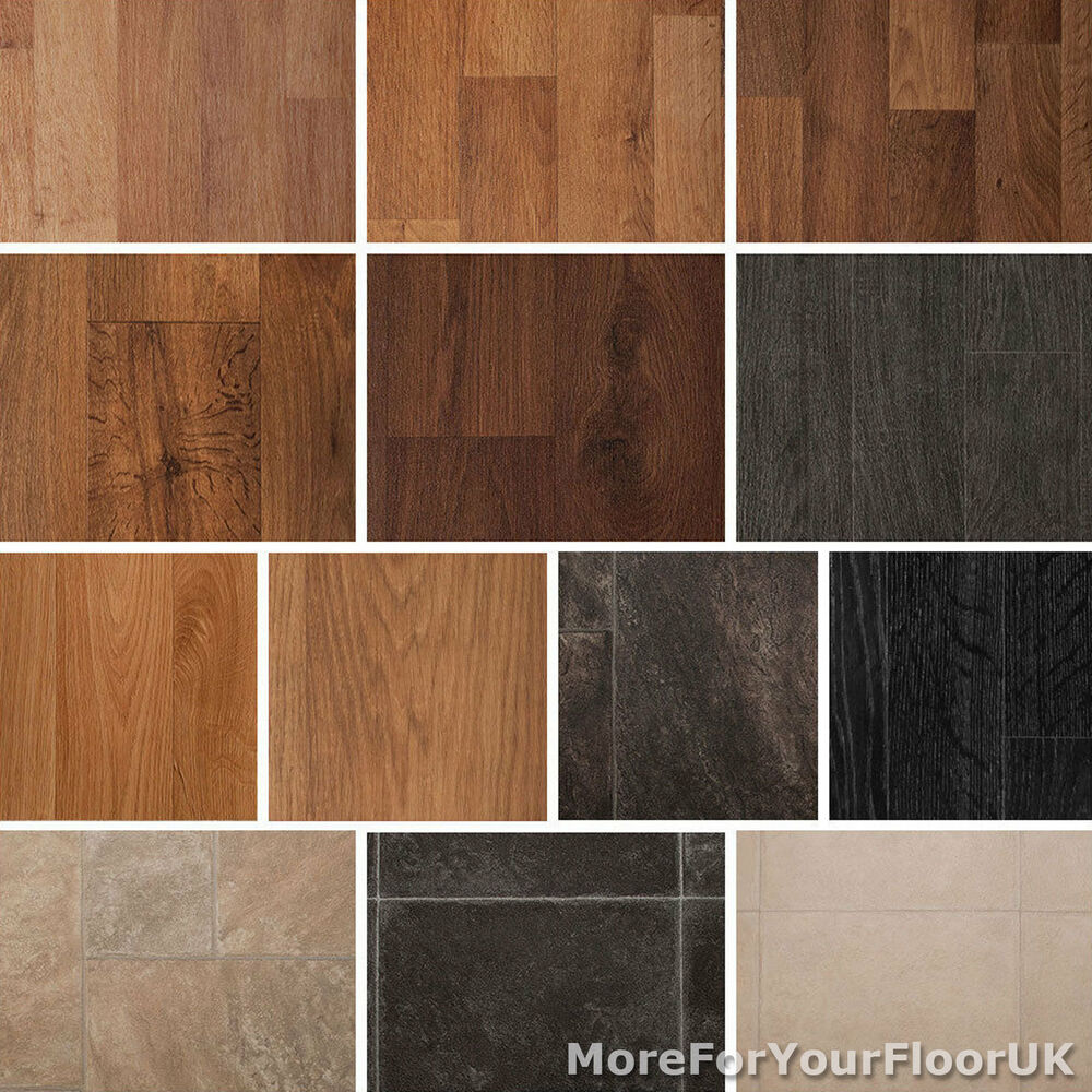 Quality vinyl flooring roll cheap wood or tile effect for Vinyl kitchen floor tiles