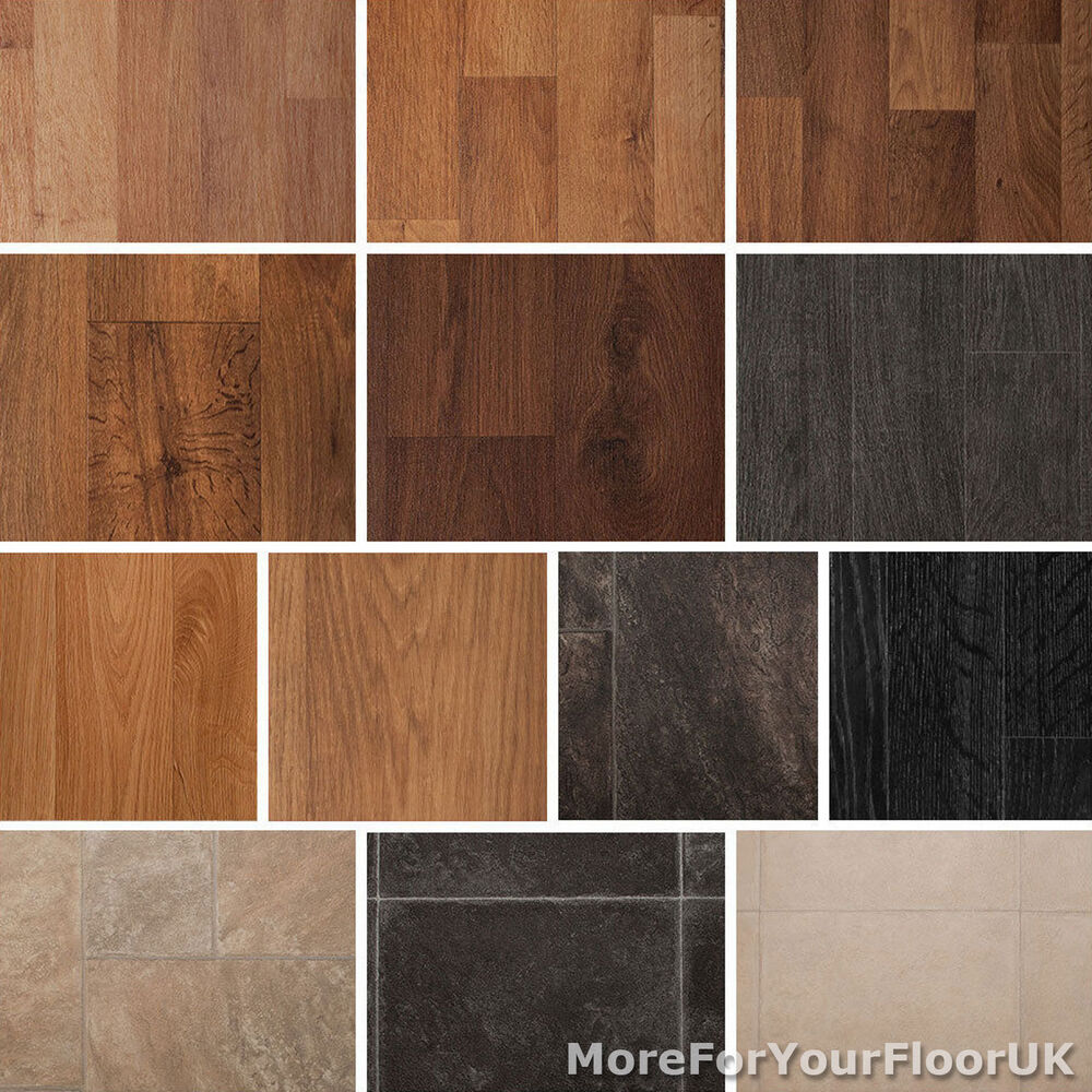 Quality vinyl flooring roll cheap wood or tile effect kitchen bathroom lino 2m ebay Vinyl tile floor