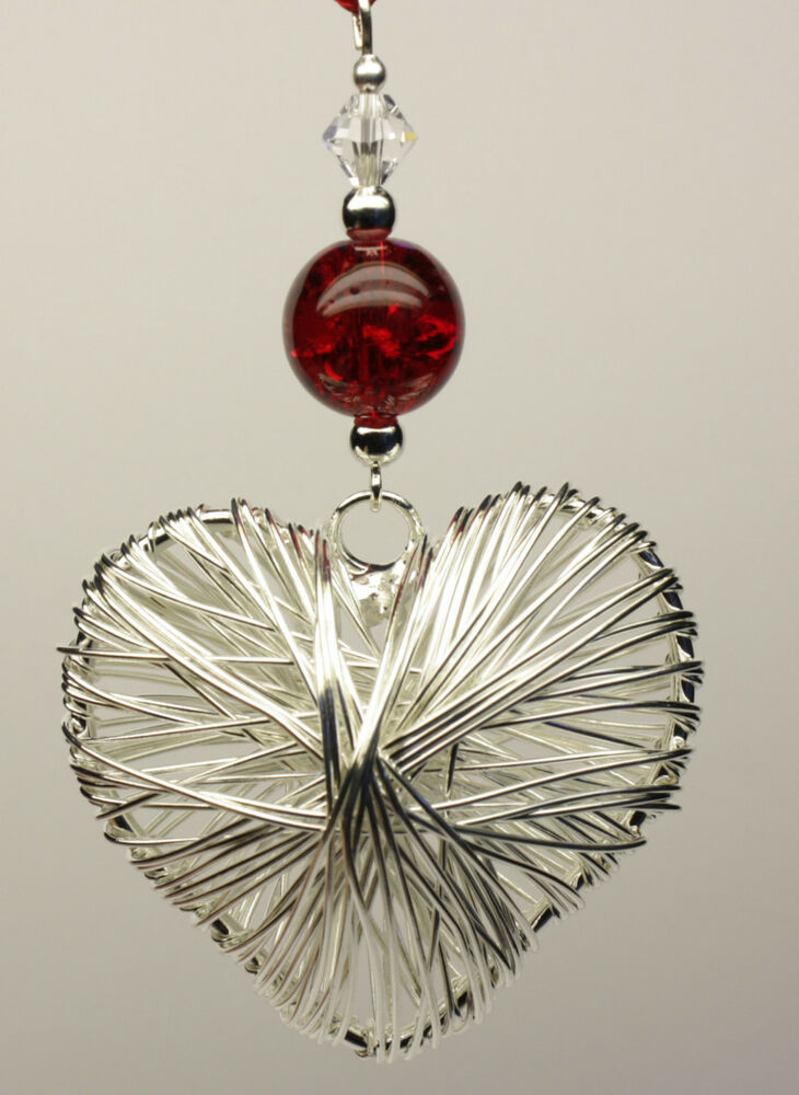 Handmade Christmas Tree Ornament Decoration Silver Heart