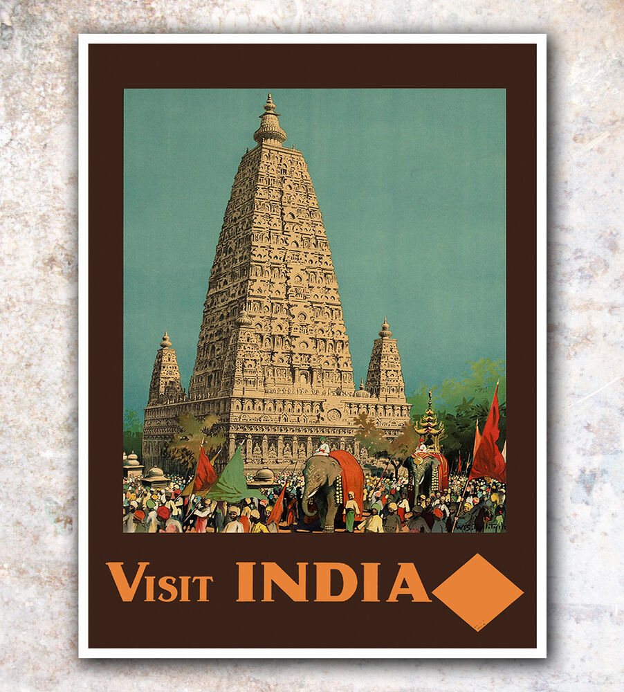 India art vintage travel poster 8x10 a242 ebay for Buy art online india