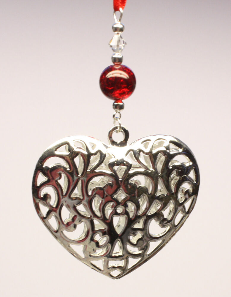 Christmas tree ornament decoration shiny silver heart with for Swarovski decoration crystals