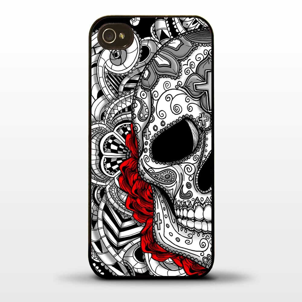 Cover for iphone 5 5s sugar skull tattoo graphic rose for Tattoo artist iphone cases