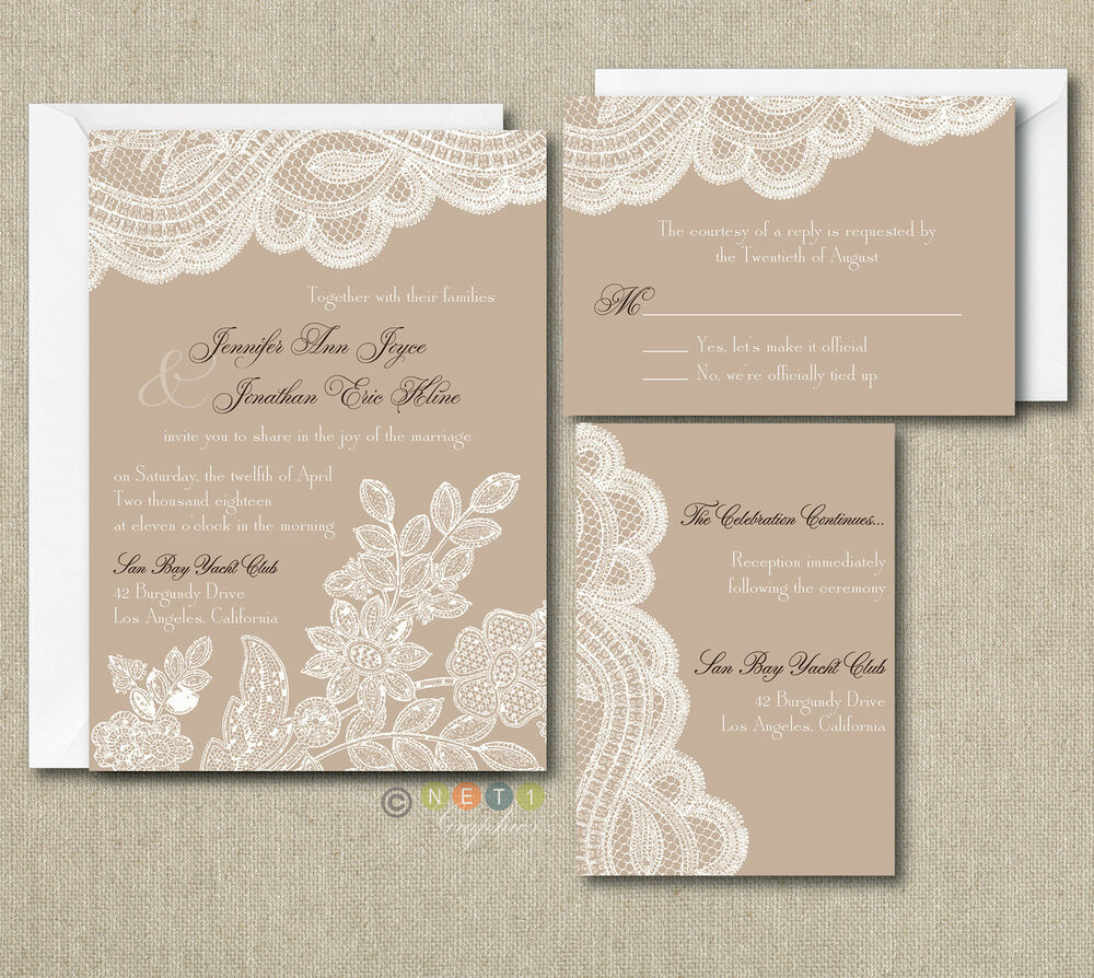 Vintage Wedding Invite: 100 Personalized Custom Rustic Vintage Lace Wedding