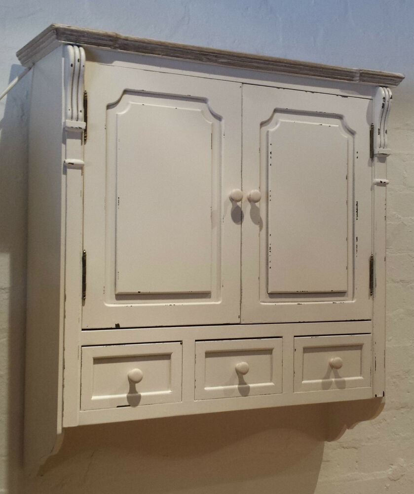 Vintage chic off white antique effect wall cabinet shabby for Vintage kitchen units uk