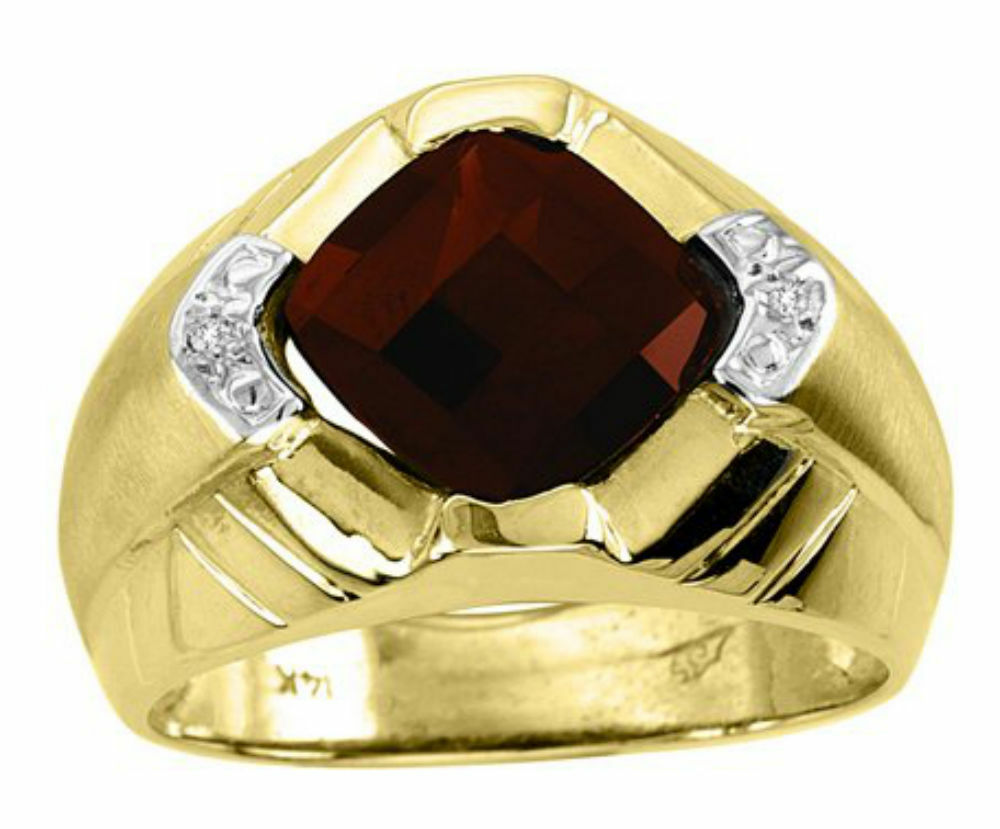mens garnet diamond ring 14k yellow gold ebay. Black Bedroom Furniture Sets. Home Design Ideas