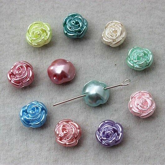 50pcs 12mm mix color acrylic rose flowers beads jewelry