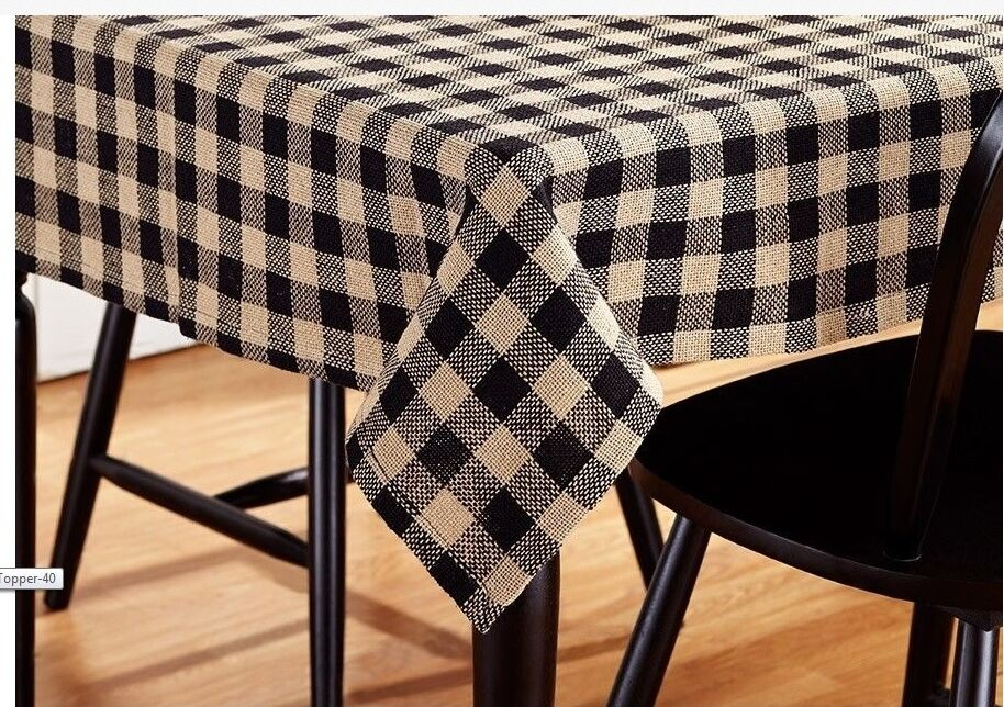 Black Tan Burlap Check Cotton Country Kitchen Tablecloth ...