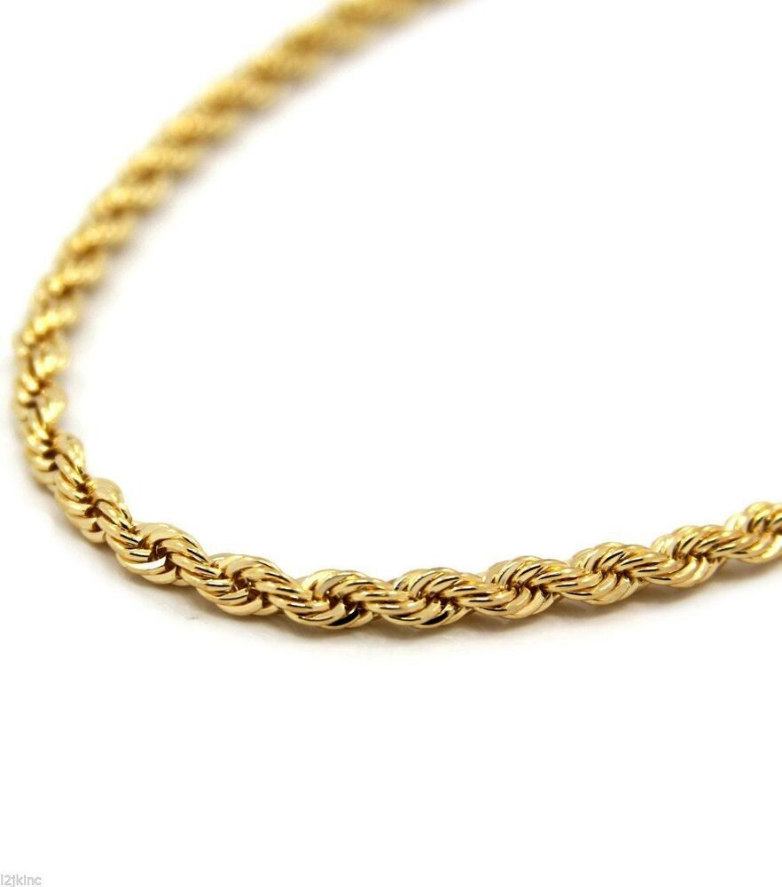 mens 18k yellow gold plated 30quot inches rope chain necklace