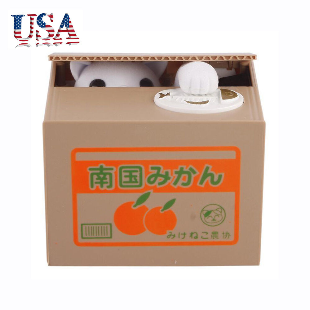 us itazura automated money stealing cat coins piggy bank