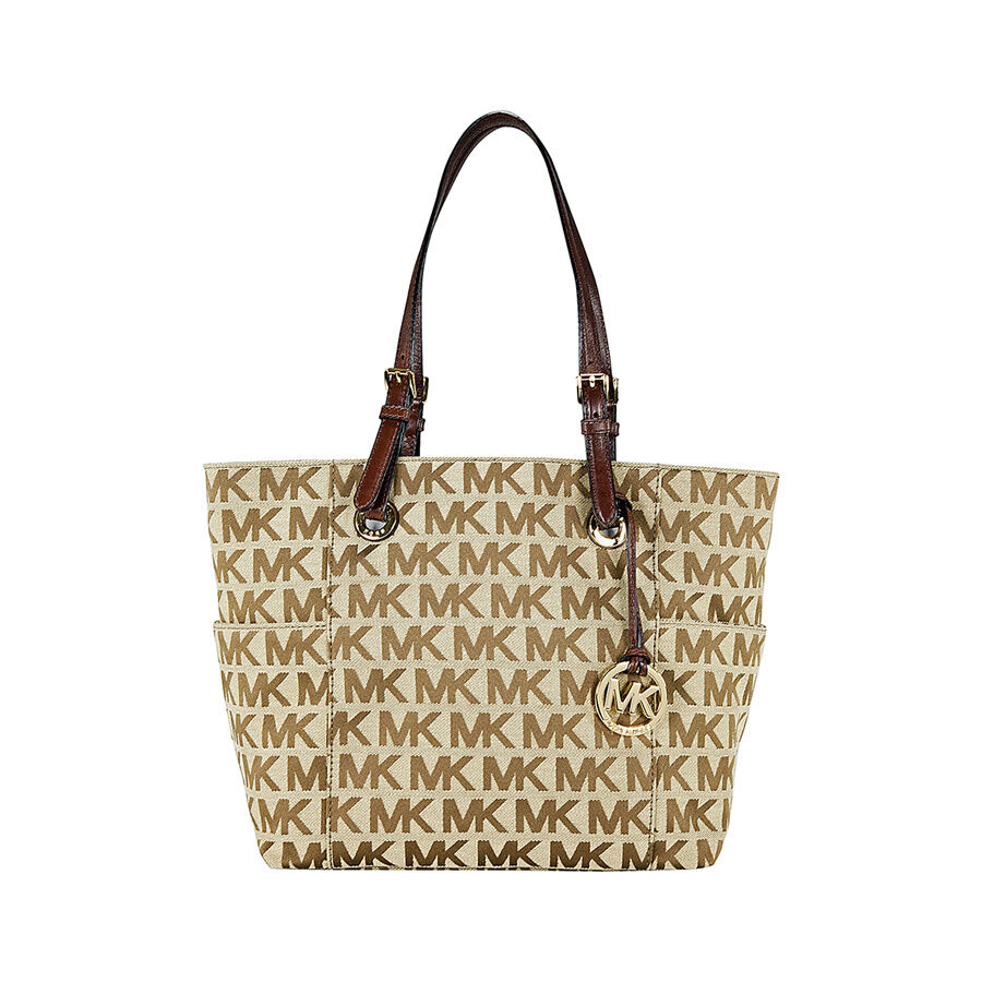 michael kors jet set signature logo tote handbag in mocha. Black Bedroom Furniture Sets. Home Design Ideas