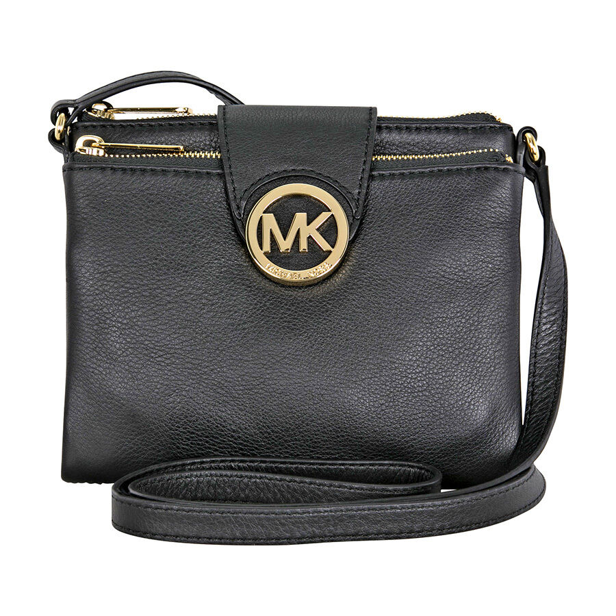 michael kors fulton large crossbody in black ebay. Black Bedroom Furniture Sets. Home Design Ideas