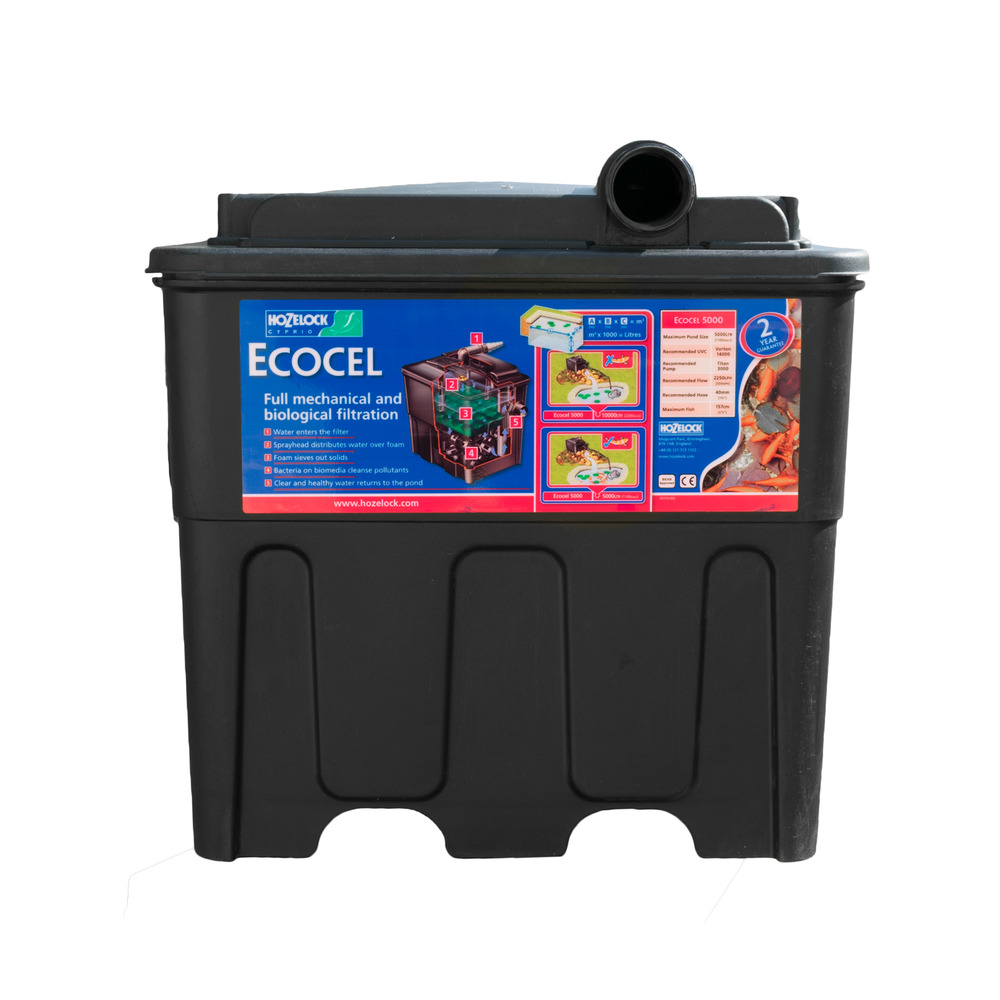 Hozelock ecocel 5000 fish pond filter system black box for Koi pond filter box