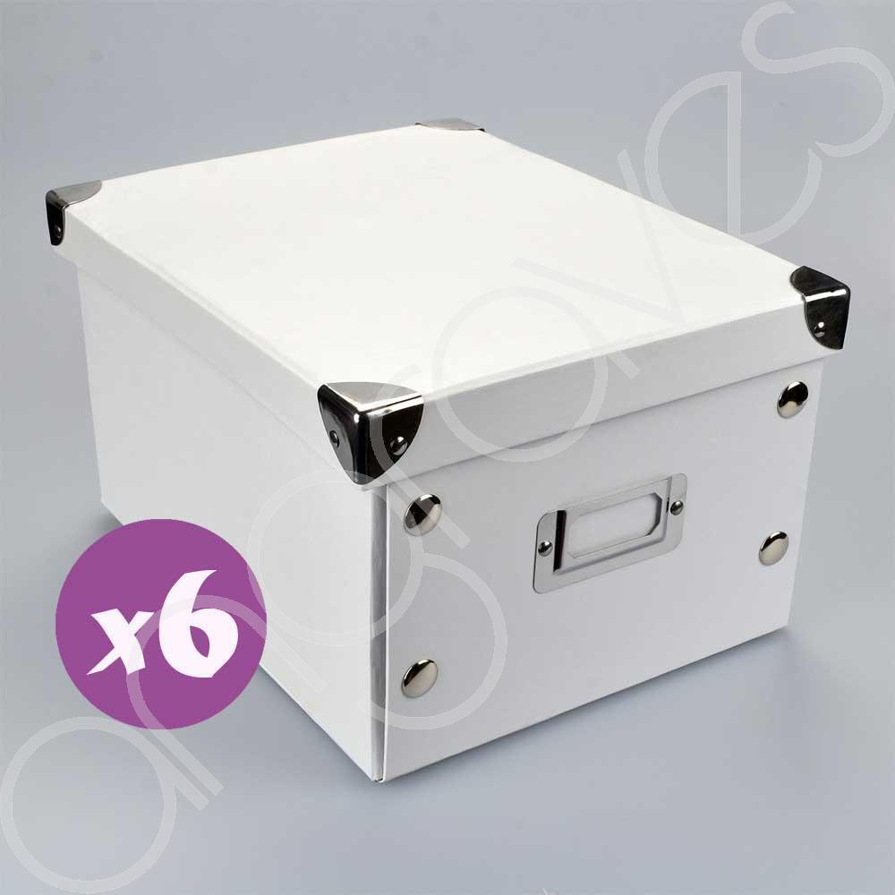 Set Of 6 White Storage Boxes With Lid Cd Dvd Photograph