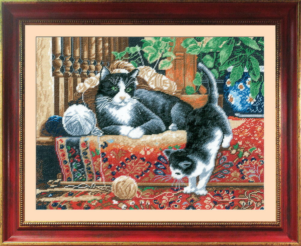 Cats On The Carpet Counted Cross Stitch Kit With Color