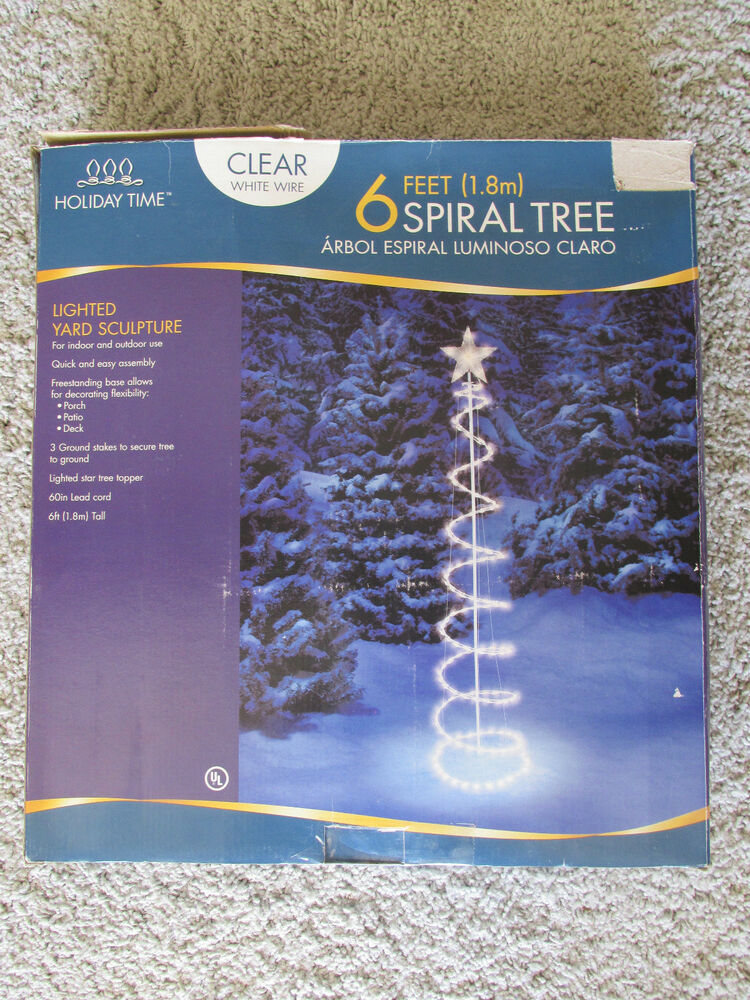 Tree christmas yard outdoor decoration clear white wire w box ebay