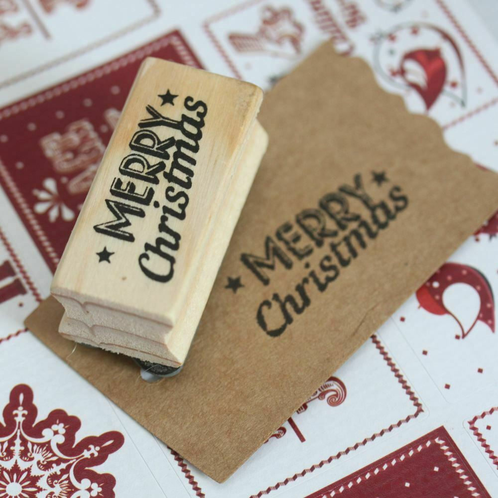 East of india 39 merry christmas 39 with stars wooden rubber for Custom craft rubber stamps