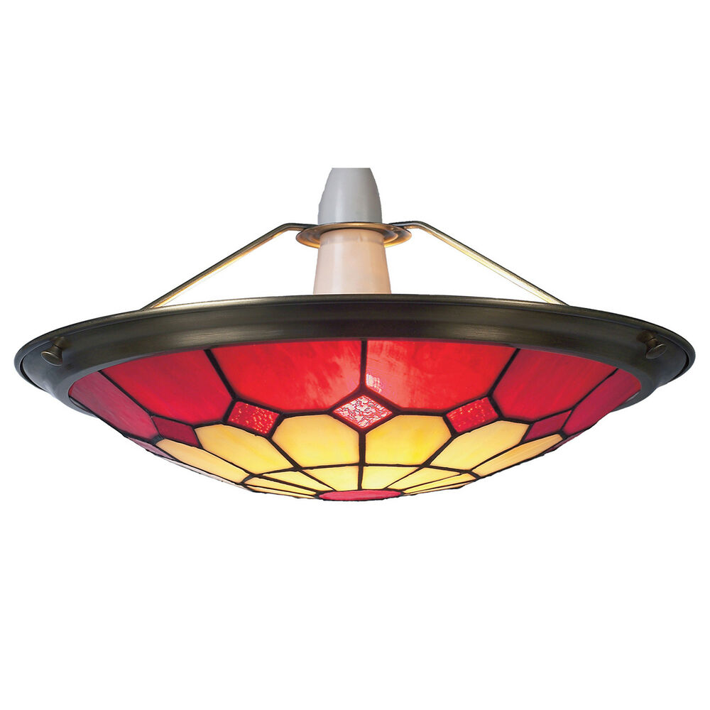 Ceiling Shade: Red Tiffany Bistro Style Uplighter Ceiling Light Pendant