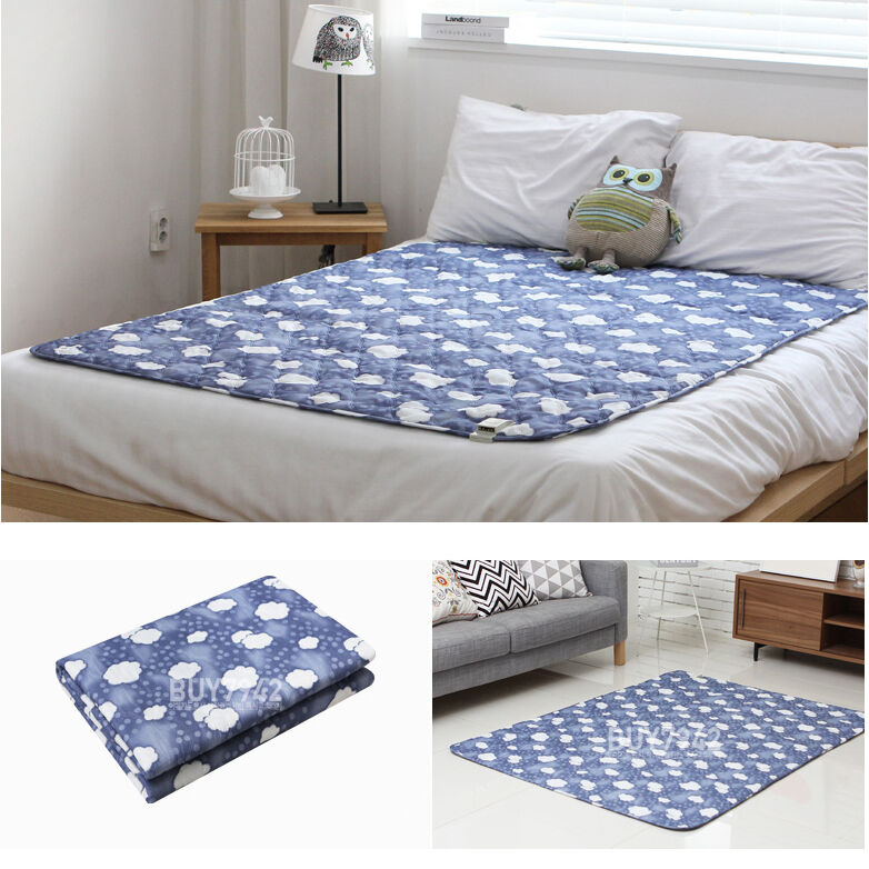 Blanket heating bed pad winter mattress cover cloud blue s m l ebay