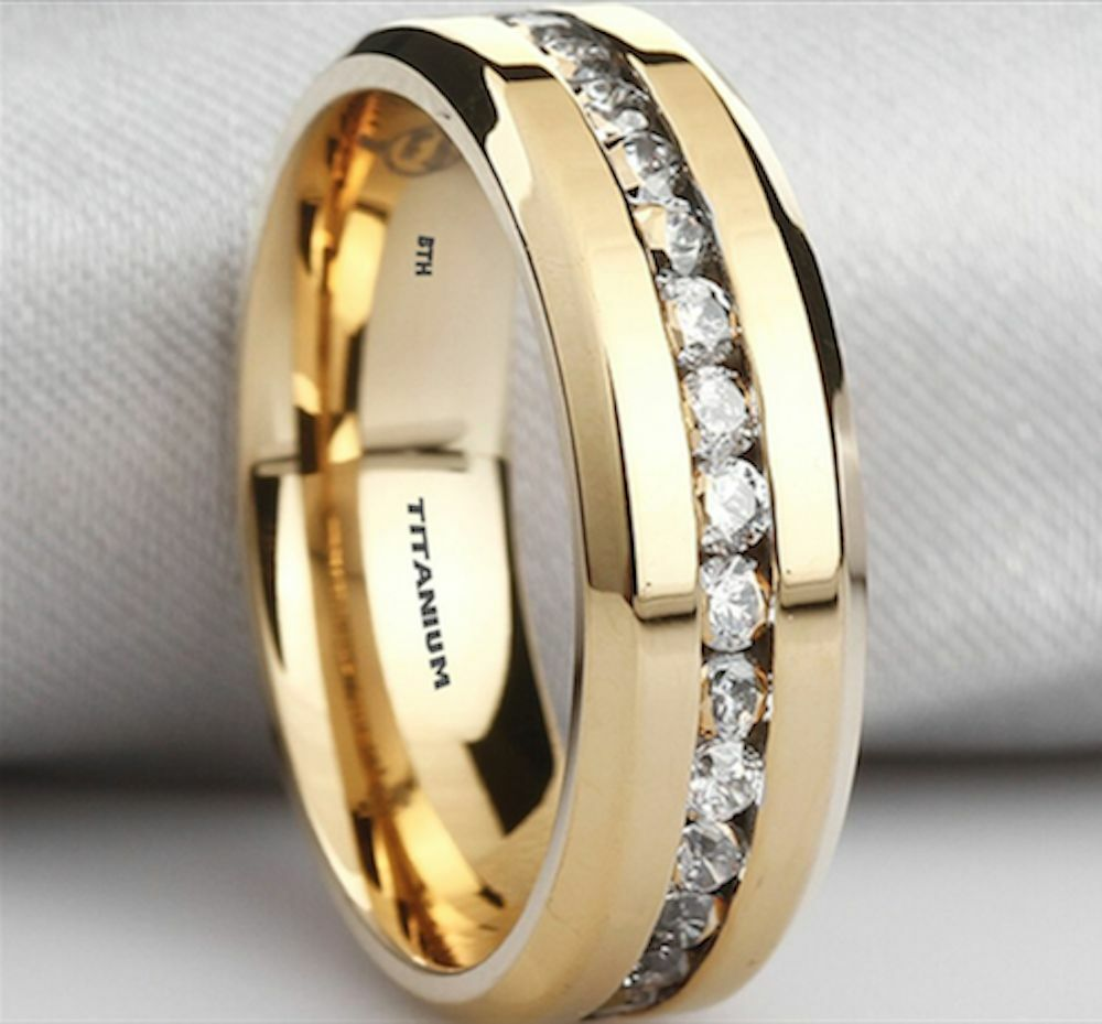 New Boxed Mens Created Diamonds Titanium Gold Gp Wedding