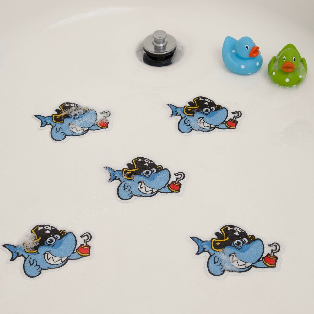 bathtub stickers shark shower decals kids babies treads non slip applique ebay. Black Bedroom Furniture Sets. Home Design Ideas