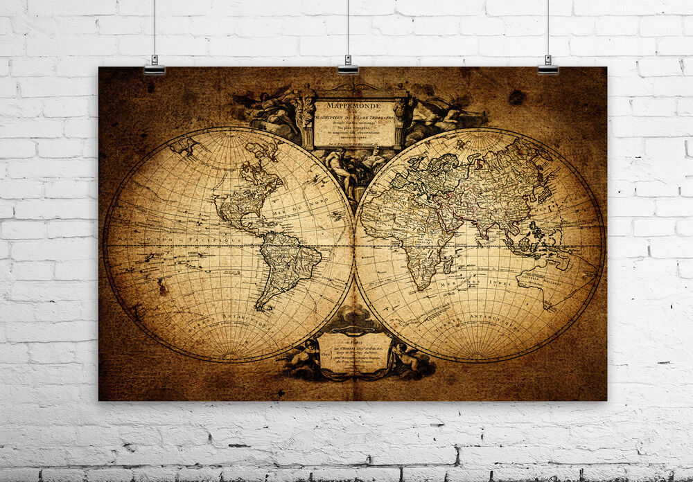 Old Rusty World Map Wall Art Printed On Untra Smooth