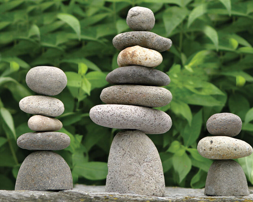 Natural River Rock : Handcrafted natural river stone cairn rock stack pile