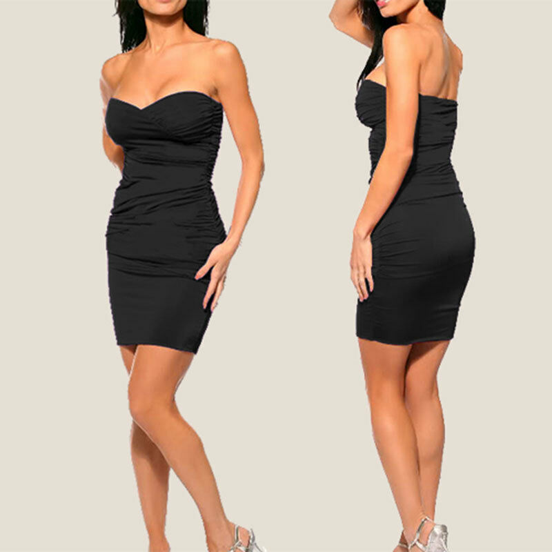 Ruched Strapless Evening Party Night Club Dress Co9687