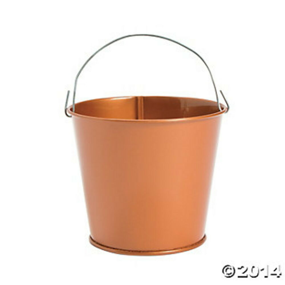 dazzling toys Large Galvanized Buckets (Pack of 6) Colored Mini Metal Buckets - 6-Pack Colorful Tin Pails with Handles, Small-Sized for The Beach.