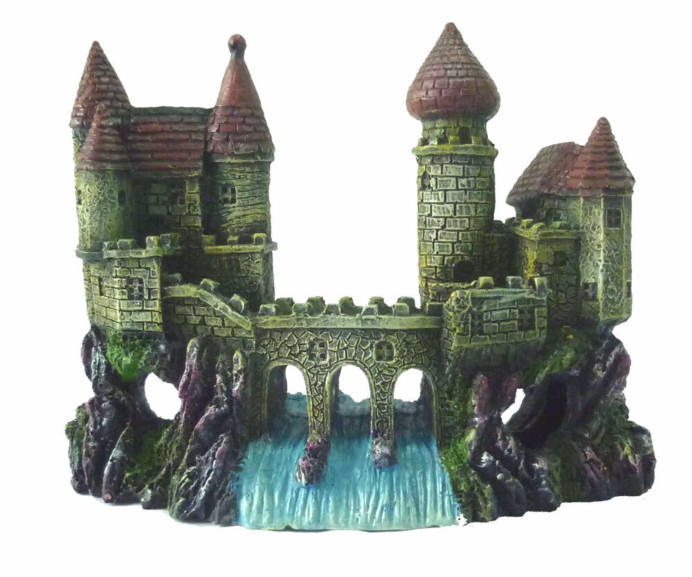 2 castles waterfall bridge aquarium decoration fish tank for Aquarium waterfall decoration