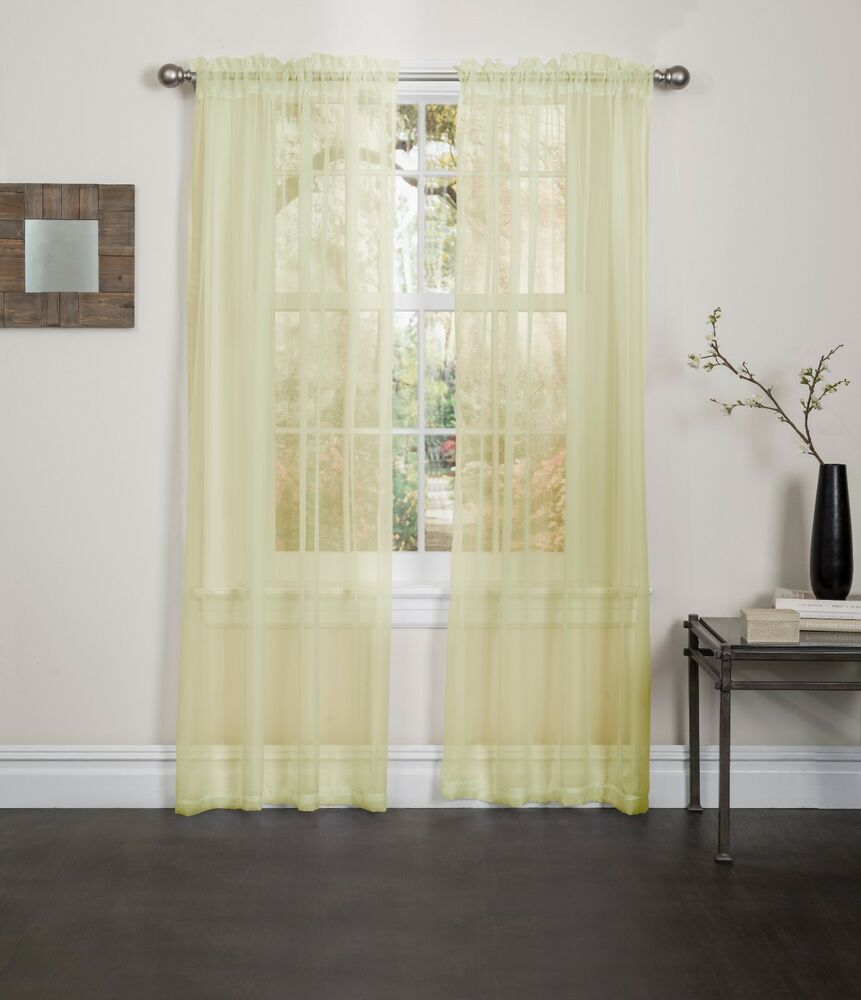 Yellow sheer voile window curtain panel great quality for Window voiles