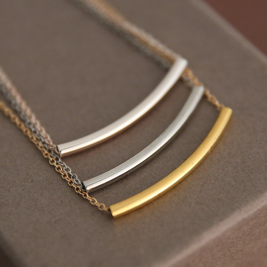 new thin long curved horizontal tube bar pendant necklace. Black Bedroom Furniture Sets. Home Design Ideas